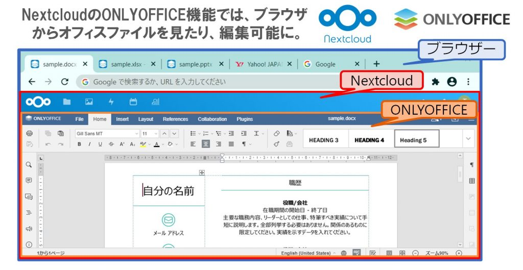 NextcloudのONLYOFFICE機能では、ブラウザからオフィスファイルを見たり、編集可能に。