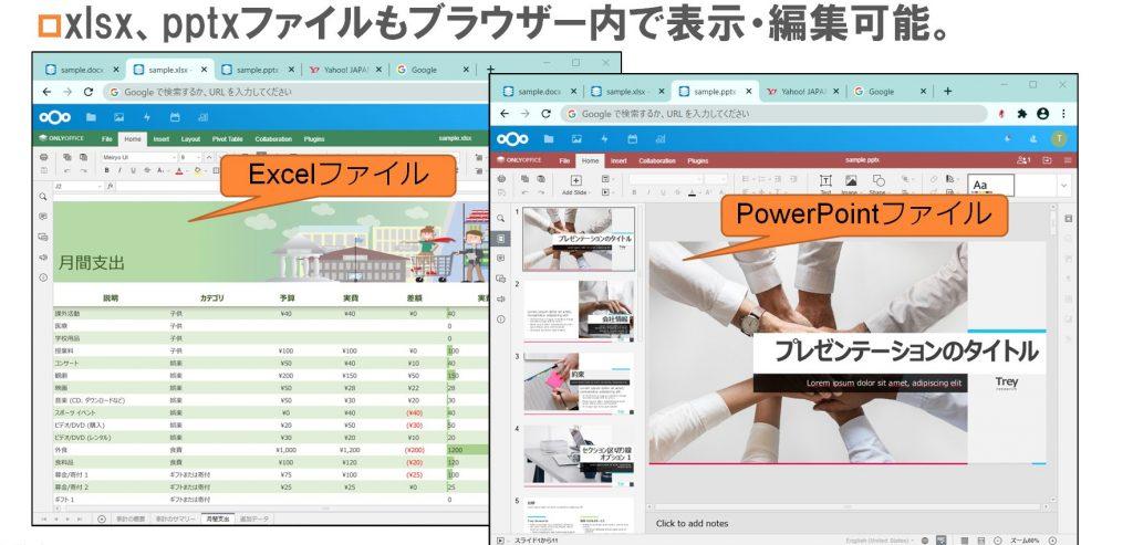 xlsx、pptxファイルもブラウザー内で表示・編集可能。